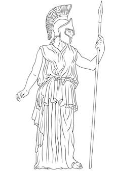 Antike griechische göttin pallas athena in einem helm mit einem speer