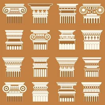 Antike griechische roma spalte hauptstädte silhouette gesetzt.