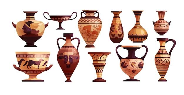 Antike griechische vase mit dekoration antiker traditioneller tonkrug oder topf für wein