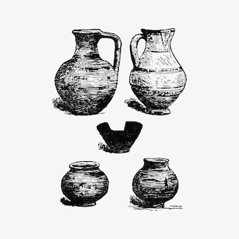 Antike keramik eingestellt