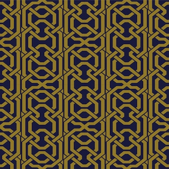 Antike nahtlose muster-polygon-geometrie-kreuzkettenlinie