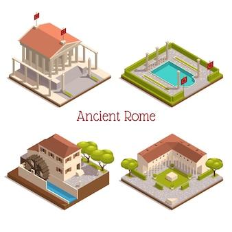 Antike rom touristenattraktionen wahrzeichen 4 isometrische kompositionen mit hölzernen wassermühlen-pantheon-säulen-säulen-ruinen-illustration