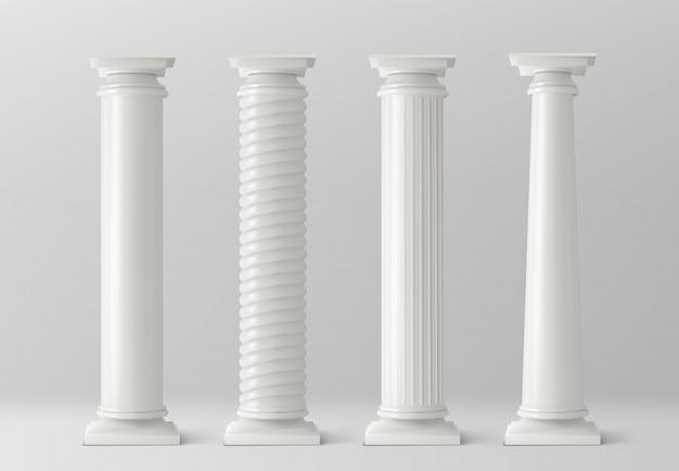 Antike säulen auf weißem hintergrund