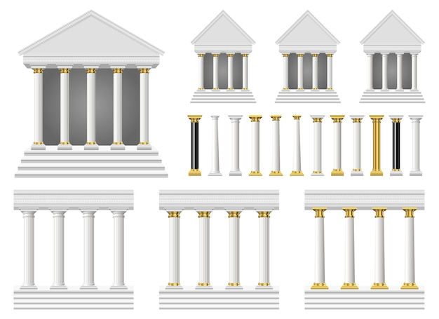 Antike säulen und tempel, lokalisiert auf weißem hintergrund