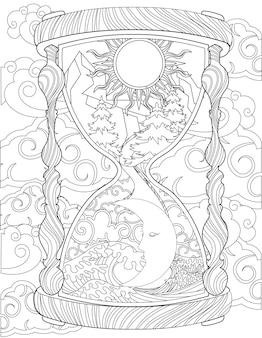 Antike sanduhr-zeichnung mit sonne und mond im inneren, umgeben von wolken. alte sanduhr strichzeichnung, die tag und nacht mit starkem wind umschlossen erscheint.