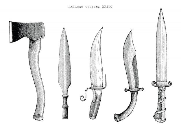 Antike waffenhandzeichnung gravurillustration