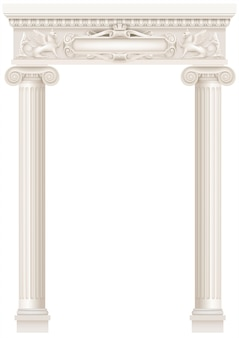 Antike weiße kolonnade mit alten säulen