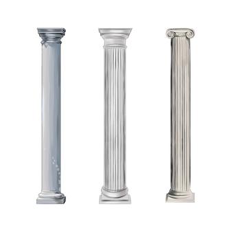 Antike weiße säulen aus spritzwasser farbiger zeichnung realistisch