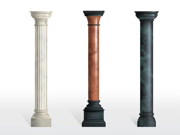 Antike zylinderförmige spalten des weißen, roten und schwarzen marmorsteins mit dem realistischen vektor der kubikbasis lokalisiert. alte architektur, historisches oder modernes gebäudeäußerelement