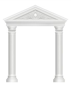 Antiker bogen. realistische bilder des architektonischen barockstils des kolonnadenpalastes