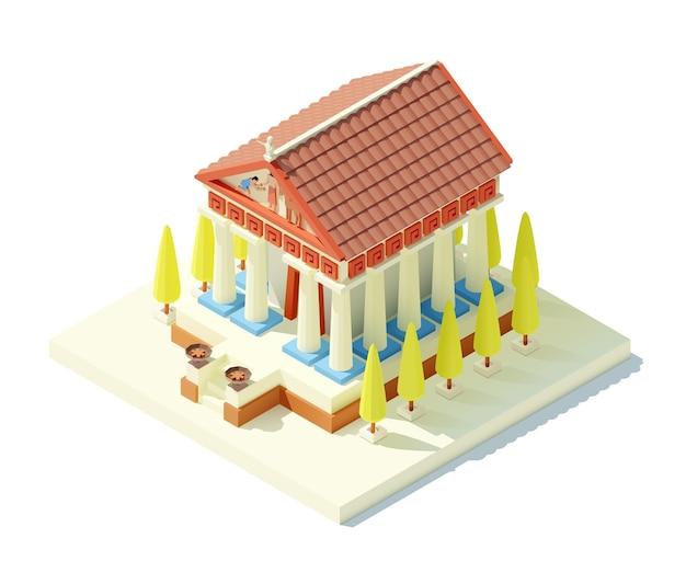 Antiker griechischer tempel. alte denkmalikone