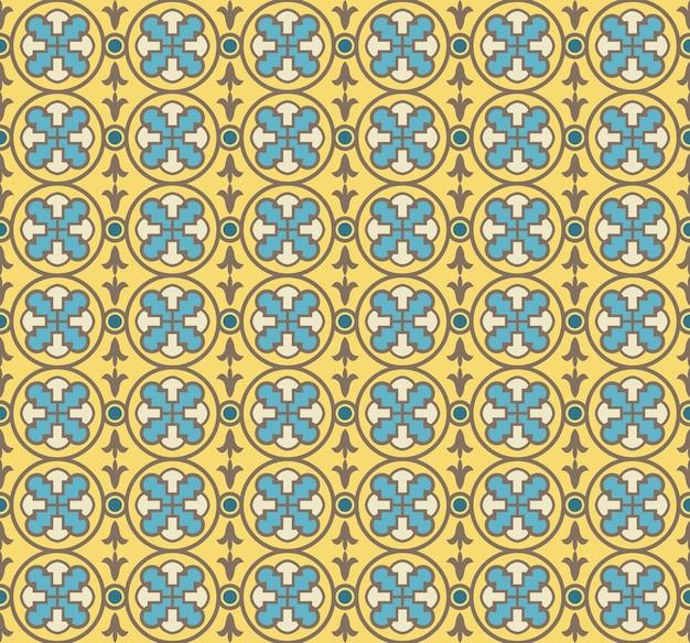 Antiker nahtloser hintergrund der gelben runden geometriekreuzrundenkurvenblume