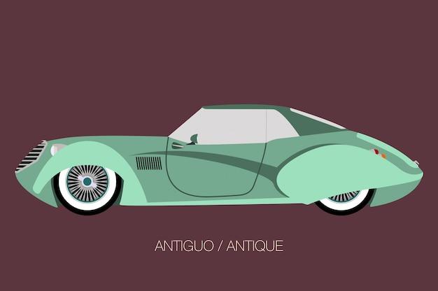 Antiker oldtimer, vektorautoikone, seitenansicht des autos, automobil, kraftfahrzeug