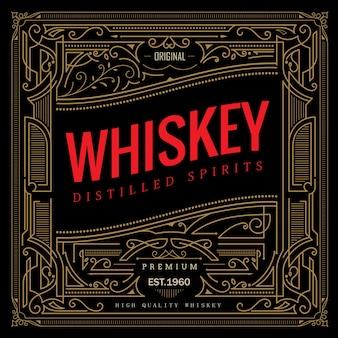 Antiker rahmen whisky-label vintage-grenze retro-illustration