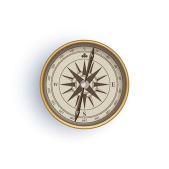 Antiker retro-art-metallkompass lokalisiert auf weißer hintergrundillustration
