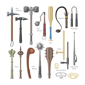 Antiker schutzkrieger der mittelalterlichen waffen und antiker metallhammerillustrationswaffensatz der dreschflegelwaffe und der rüstungsstreitkolbenausrüstung auf weißem hintergrund