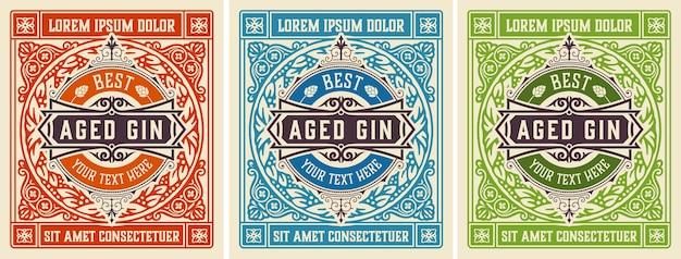 Antikes etikett mit gin likör