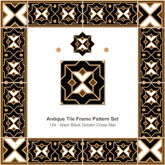 Antikes fliesenrahmen-musterset islam black golden cross star