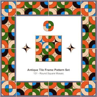 Antikes fliesenrahmen-musterset round corner square cross mosaic