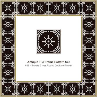 Antikes fliesenrahmenmuster gesetztes quadratisches kreuz runde punktlinienblume, keramikdekoration.