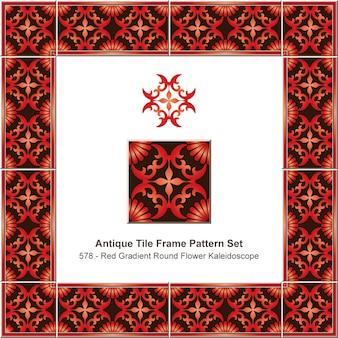 Antikes fliesenrahmenmusterset-farbverlaufsrot-rundkreuzblumenkaleidoskop, keramikdekoration.