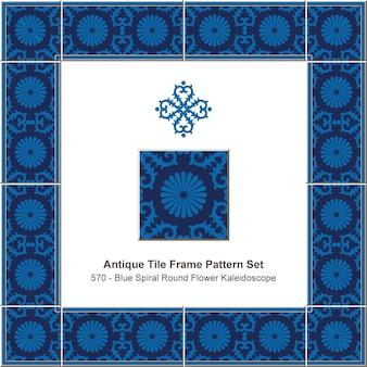 Antikes fliesenrahmenmusterset vintage blaue spirale rundes kreuzblumenkaleidoskop, keramikdekoration.