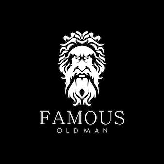 Antikes griechisches gesicht des alten mannes wie gott zeus oder alter philosoph mit schnurrbart und bart-logo-design