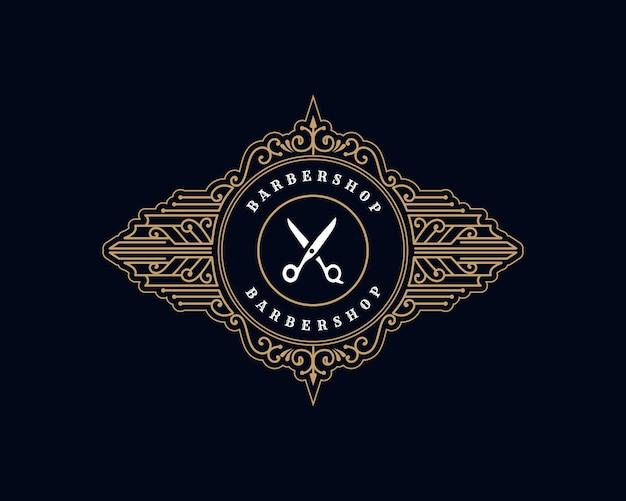 Antikes königliches luxuriöses viktorianisches kalligraphisches logo mit zierrahmen für friseursalon-friseursalon