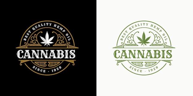 Antikes luxuriöses königliches vintage-cannabisblatt-logo mit dekorativem zierrahmen für hanfölmarke