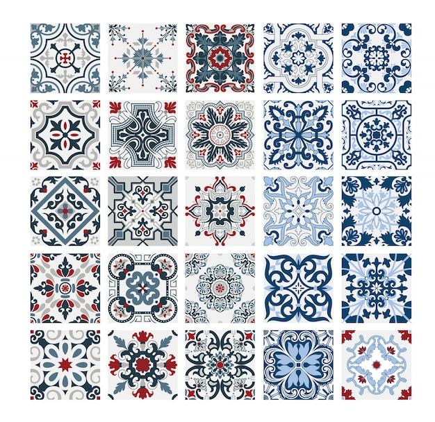 Antikes nahtloses design der portugiesischen muster der fliesen in der vektorillustrationsweinlese