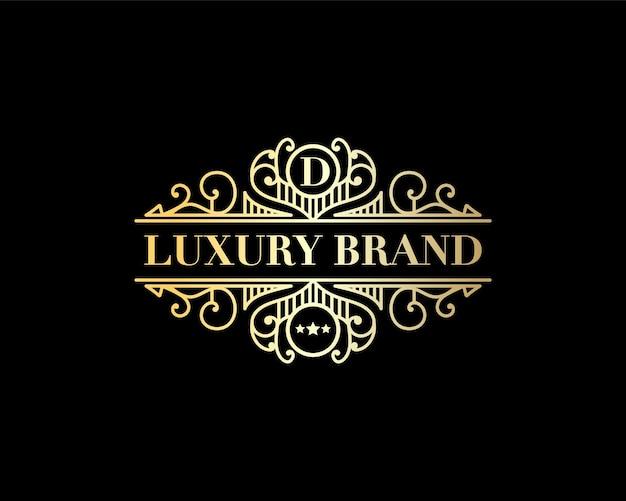 Antikes retro-luxus-viktorianisches kalligraphisches emblem heraldisches logo mit dekorativem ornament