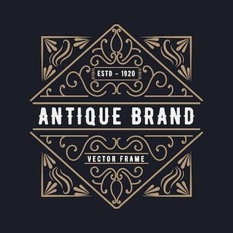 Antikes retro-luxus-viktorianisches kalligraphisches logo des westlichen stils mit zierrahmen