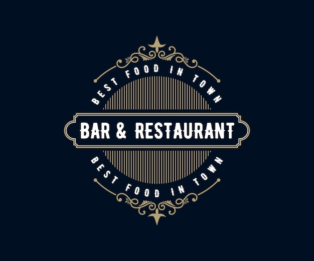 Antikes retro-luxuslogo mit zierrahmen für café-café des hotelrestaurants