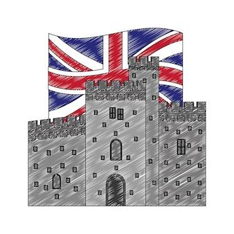 Antikes schloss mit flagge von großbritannien groß