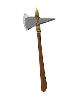 Antikes steinwerkzeug für die jagd oder arbeit. karikaturaxt, prähistorisches höhlenmenscheninstrument. vektorillustration des primitiven kulturwerkzeugs im flachen stil lokalisiert auf weißem hintergrund