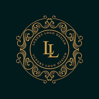 Antikes viktorianisches kalligraphisches logo des königlichen luxus mit zierrahmen.
