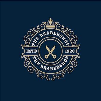 Antikes viktorianisches kalligraphisches logo des königlichen luxus mit zierrahmen