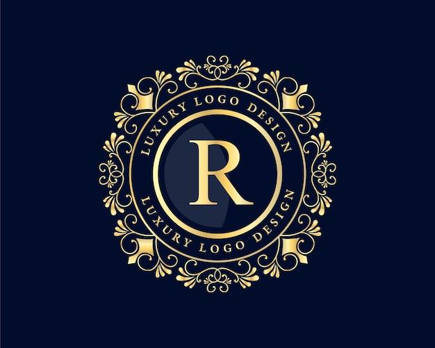 Antikes viktorianisches retro-luxus-emblemlogo mit zierrahmen