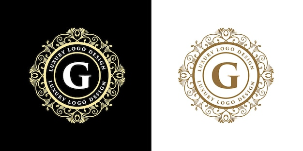 Antikes vintage retro luxus heraldisches viktorianisches kalligraphisches logo mit zierrahmen