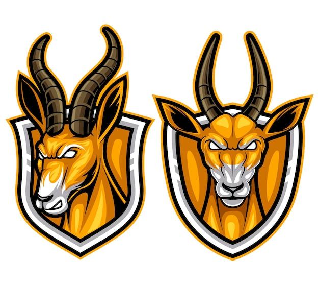 Antilopen stellen tiermaskottchen esport-logoillustration ein