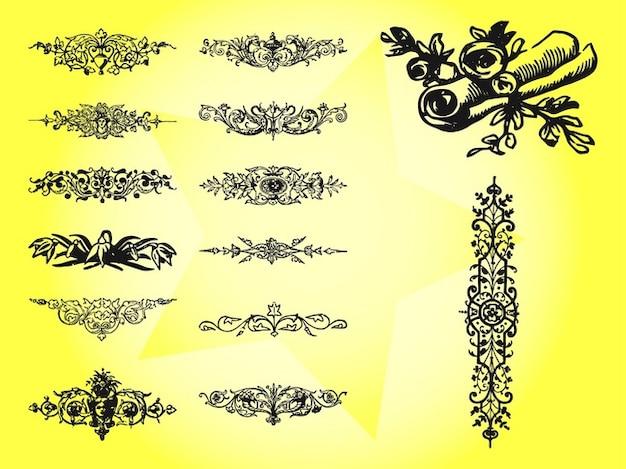Antique dekorativen floralen wirbelt vektor