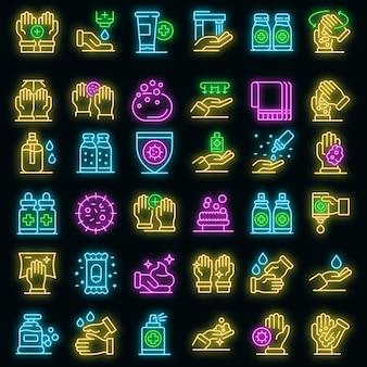 Antiseptische symbole gesetzt. umrisse von antiseptischen vektorsymbolen neonfarbe auf schwarz