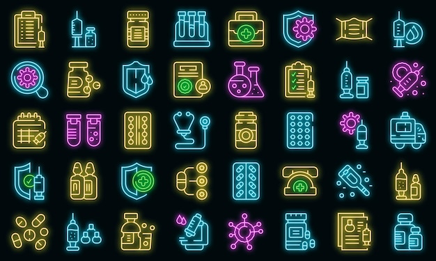 Antivirale medikamente icons set vektor neon