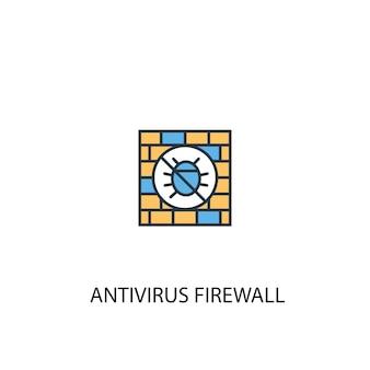 Antivirus-firewall-konzept 2 farbiges liniensymbol. einfache gelbe und blaue elementillustration. antivirus-firewall-konzept skizziert symboldesign