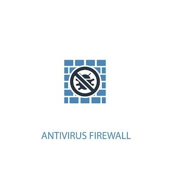 Antivirus-firewall-konzept 2 farbiges symbol. einfache blaue elementillustration. antivirus-firewall-konzept-symboldesign. kann für web- und mobile ui/ux verwendet werden