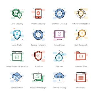 Antivirus- und sicherheits-icons pack