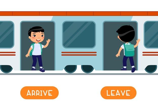 Antonyme konzept, ankommen und verlassen. pädagogische wortkarte mit gegensätzen.