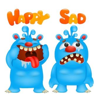 Antonyme und gegensätze. cartoon monster charakter karten zum lernen der englischen sprache. glücklich und traurig