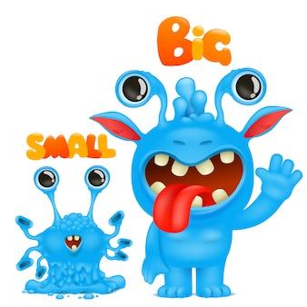 Antonyme und gegensätze. cartoon monster charakter karten zum lernen der englischen sprache. groß und klein