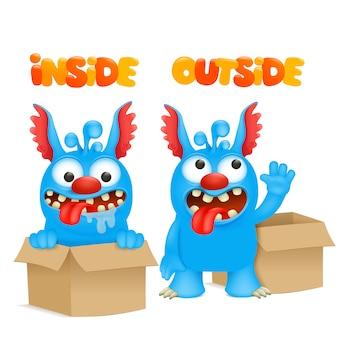Antonyme und gegensätze. cartoon monster charakter karten zum lernen der englischen sprache. innen und außen